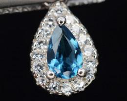 Beautiful Natural Blue Topaz & CZ  Silver Pendant 3.93 Cts