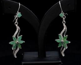 AAA Beautiful Natural Emerald & CZ Silver Earrings