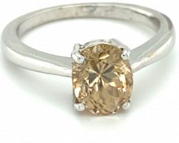 Yellow Zircon 3.18ct Solid 18K White Gold Ring