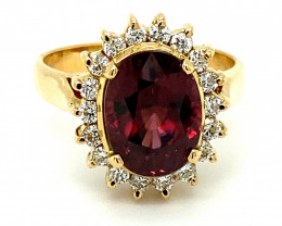 Certified Red Zircon 7.01ct Natural Diamonds Solid 18K Yellow Gold Ring