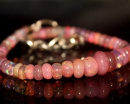 15.15 Crts Natural Welo Smoked Pink Opal Beads Bracelet 9