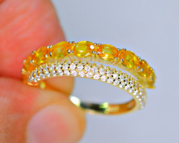 Natural Fresh Design 9Pis beryllium sapphire,CZ 925 Silver Ring