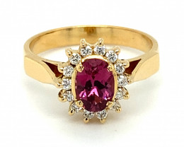 Certified Mahenge Spinel 1.01ct Natural Diamonds Solid 18K Yellow Gold Ring