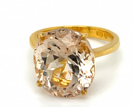 Certified Imperial Topaz 13.56ct Solid 22K Yellow Gold Ring