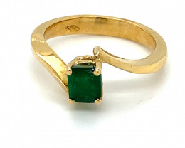 Certified Emerald .85ct Solid 18K Yellow Gold Ring