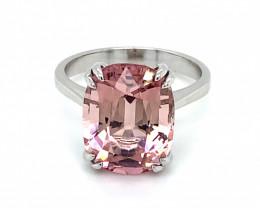 Pink Tourmaline 7.12ct Solid 14K White Gold Ring
