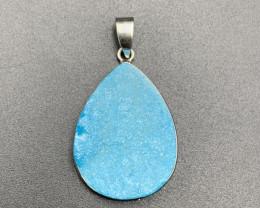 Elegant Blue Sky Aura Druzy Agate Pendant. Ar-646