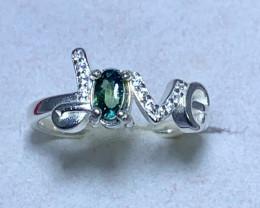 Natural 10.00 Carats bi-color Ceylon sapphire 925 Silver Ring
