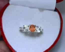 Natural 16.00 Carats Rare Orange Clinohumite 925 Silver Ring