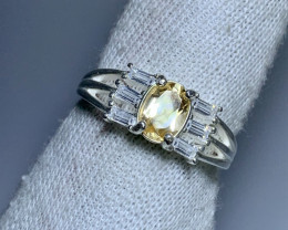 Natural 19.00 Carats Yellow Citrine with Cz 925 Silver Ring