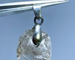 27 carat transparent diamond quartz 925 silver pendant, 27x17x9