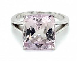 Certified Pink Kunzite 9.36ct Solid 18K White Gold Ring
