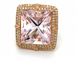 Certified Morganite 46.59ct Natural Diamonds Solid 14K White and Rose Gold