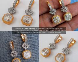1.50 carat Face Up Asscher Pie-Cut Natural Diamonds F VVS 18K Gold Fine Ear