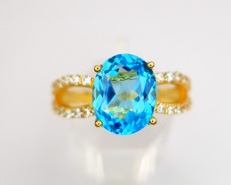 Gold Plated Natural Swiss Topaz Ring