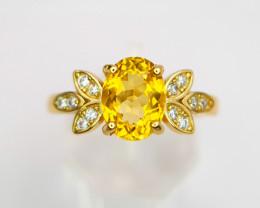Natural Yellow Beryl Ring