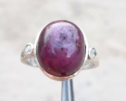 Natural Ruby Cab And CZ Ring