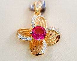 Gold Plated Pink Topaz Pendent