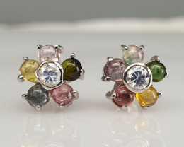 Natural Tourmaline and CZ Earrings