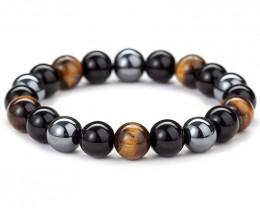 10mm Tiger's Eye, Hematite & Black Obsidian Triple Protection Bracelet