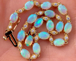 Stunning Australian Opal, Diamond and 14k Solid Gold Tennis Bracelet.