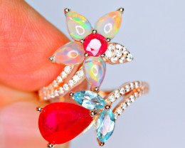 Natural AAA Multi Fire Opal Cabochon ,Multi stone,CZ 925 Silver Ring