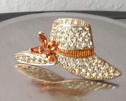 VINTAGE MONET BROOCH GOLD HAT PIN WHITE & AMBER STONES