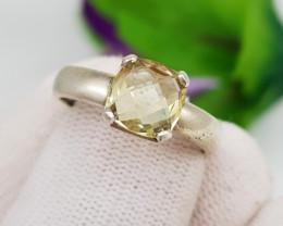 Natural Yellow Citrine 24.30 Carats Hand Made Ring