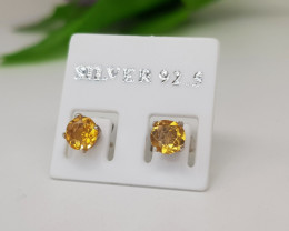 Natural Yellow Citrine 3.50 Carats Silver Earrings
