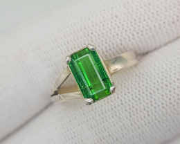 Natural Radiant Cut Tourmaline Solitaire Ring