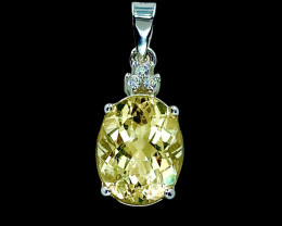 2.50ct.Aesthetic Natural Heliodor Eye's Catching Silver925 Pendant.DHD429
