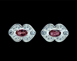0.37ct.Exquisite Natural Pink Tourmaline Silver925 Earring.DTM432