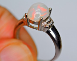 Natural AAA Multi Fire Opal Cabochon ,CZ 925 Silver Ring