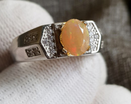 Natural Multi Fire Opal 26.50 Carats 925 Silver Ring