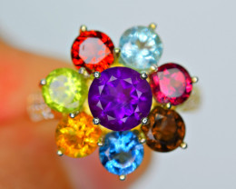 Natural Multi Stone ,CZ 925 Silver Amazing gold plated Design Ring