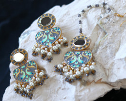 Unique and Custom Curated Hand Made Earrings  & Tikka Set  RT-244
