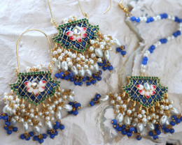 Unique and Custom Curated Hand Made Earrings & Tikka Set  RT-245