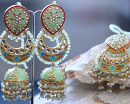 Unique and Custom Curated Hand Made Earrings & Tikka Set  RT-247