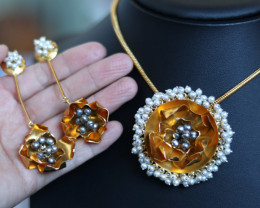 Unique and Custom Curated Hand Made Earrings & Necklace Set  RT-261
