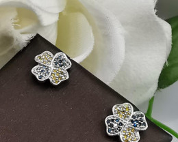 Stylish Natural Blue And Yellow Diamond   Sterling Silver 925 Earring