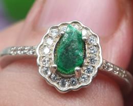 Natural Emerald Slice 925 Silver Ring