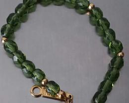 VINTAGE NAPIER GREEN FACETED GLASS BEAD SIGNED BRACELET