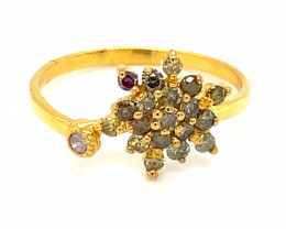 Fancy Colored Diamonds 1.02ct Solid 14K Yellow Gold Ring
