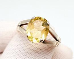Stunning Yellow Citrine Solitaire Ring