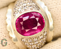 Presenting Exclusive 67.15 Ct Rubylite Tourmaline Ring  ~ Silver