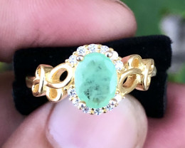 Gold Plated Natural Emerald And CZ Ring.