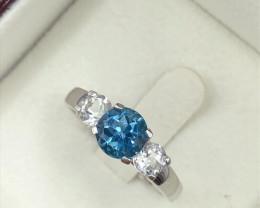 Three stone London Blue Topaz, White Topaz Sterling Silver 925 Ring