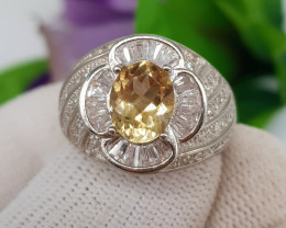 Natural Unique Design Yellow Citrine 41.10 Carats 925 Silver CZ Ring