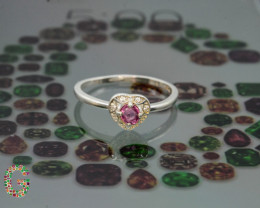 Unique Design 8.70 Ct Silver Ring ~ With Baby Pink Tourmaline