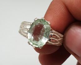 Natural Aquamarine Handmade Silver Ring